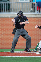 Home plate umpire Gary Swanson makes a strike call during the NCAA baseball game between the Wake Forest Demon Deacons and the Charlotte 49ers at Hayes Stadium on March 16, 2016 in Charlotte, North Carolina.  The 49ers defeated the Demon Deacons 7-6.  (Brian Westerholt/Four Seam Images)