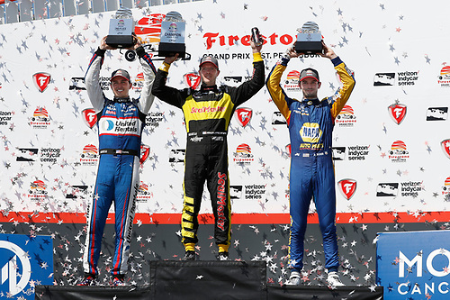 2018 Verizon IndyCar Series - Firestone Grand Prix of St. Petersburg<br /> St. Petersburg, FL USA<br /> Sunday 11 March 2018<br /> Sébastien Bourdais, Dale Coyne Racing with Vasser-Sullivan Honda, Graham Rahal, Rahal Letterman Lanigan Racing Honda, Alexander Rossi, Andretti Autosport Honda<br /> World Copyright: Michael Levitt / LAT Images<br /> ref: Digital Image _33I8518