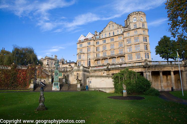 The former Empire Hotel built 1901 designed by Charles Edward Davis , from Parade Gardens, Bath, Somerset, England