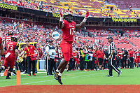 Landover, MD - September 1, 2018: Maryland Terrapins tight end Chigoziem Okonkwo (17) celebrates a touchdown during game between Maryland and No. 23 ranked Texas at FedEx Field in Landover, MD. The Terrapins upset the Longhorns in back to back season openers with a 34-29 win. (Photo by Phillip Peters/Media Images International)