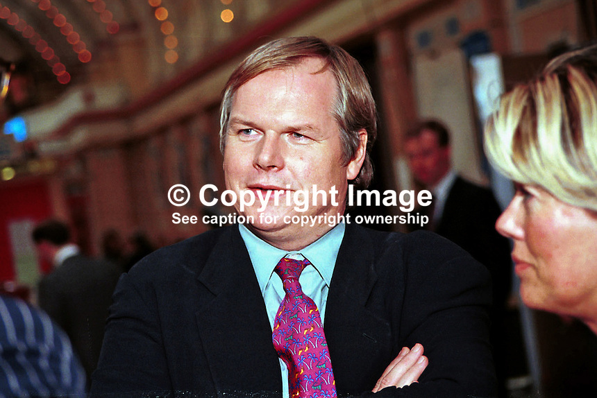 Adam Boulton, Political Editor, Sky News, Sky Television, Britain, UK, Ref:199710185. Taken at Conservative Conference in Winter Garden, Blackpool..Copyright Image from Victor Patterson, 54 Dorchester Park, Belfast, UK, BT9 6RJ..Tel: +44 28 9066 1296.Mob: +44 7802 353836.Voicemail +44 20 8816 7153.Skype: victorpattersonbelfast.Email: victorpatterson@mac.com.Email: victorpatterson@ireland.com (back-up)..IMPORTANT: If you wish to use this image or any other of my images please go to www.victorpatterson.com and click on the Terms & Conditions. Then contact me by email or phone with the reference number(s) of the image(s) concerned.