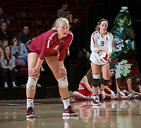 STANFORD, CA - November 3, 2018: Morgan Hentz, Meghan McClure at Maples Pavilion. No. 1 Stanford Cardinal defeated No. 15 Colorado Buffaloes 3-2.