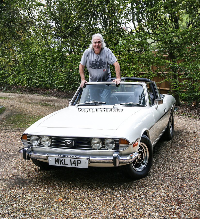 BNPS.co.uk (01202 558833)<br /> Pic: Historics/BNPS<br /> <br /> Rollin' back the years...Gerry in his current Triumph Stag.<br /> <br /> A classic sports car belonging to former England international footballer Gerry Francis has emerged for sale for £20,000.<br /> <br /> The 1976 Triumph Stag has been with Francis since 2012 when it was given to him as a surprise gift from his son.<br /> <br /> It is identical to another motor the ex QPR midfielder owned during the height of his playing career in the 1970s.