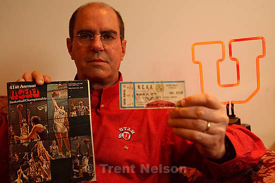 Murray - This will be a photo of Murray resident Phil Markham, who attended the famous Bird-Magic NCAA title game at the Huntsman Center when he was 21, and still has a game ticket and program from that Final Four held in Salt Lake City in 1979.  Tuesday March 17, 2009..