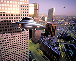 UFOs sighting near downtown buildings