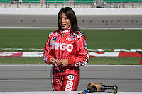 CITGO Racing driver Milka Duno prepares to drive during practice laps for the Kansas Lottery Indy 300 at Kansas Speedway in Kansas City, Kansas on April 28, 2007.