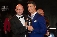 Zurigo 09-01-2017 FIFA Football Awards - Cristiano Ronaldo (POR), player of the year, men, and FIFA President Gianni Infantino during the Best FIFA Football Awards 2016 in Zurich<br /> Foto Steffen Schmidt/freshfocus/Insidefoto