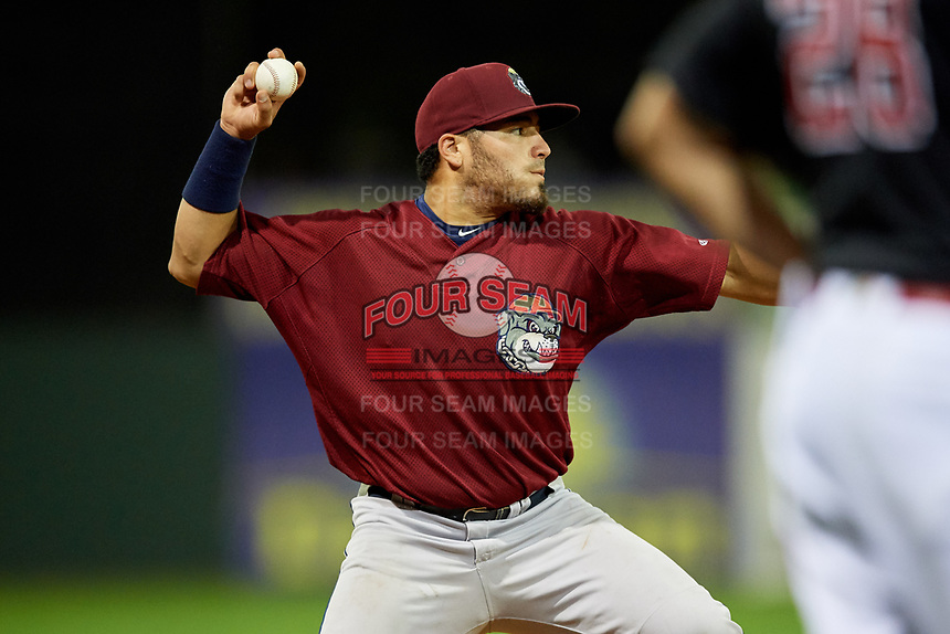 Mahoning Valley Scrappers third baseman Jonathan Laureano (25) throws to first base during a game against the Batavia Muckdogs on August 18, 2017 at Dwyer Stadium in Batavia, New York.  Mahoning Valley defeated Batavia 8-2.  (Mike Janes/Four Seam Images)