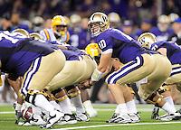 Sept. 5, 2009; Seattle, WA, USA; Washington Huskies quarterback (10) Jake Locker against the LSU Tigers at Husky Stadium. Mandatory Credit: Mark J. Rebilas-