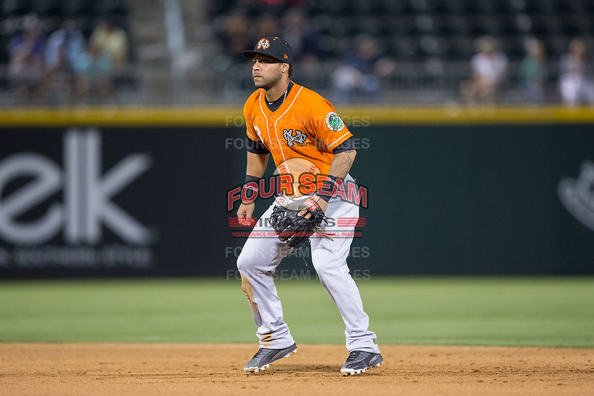 Norfolk Tides second baseman Robert Andino (3) on defense against the Charlotte Knights at BB&T BallPark on May 2, 2017 in Charlotte, North Carolina.  The Knights defeated the Tides 8-3.  (Brian Westerholt/Four Seam Images)