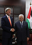 U.S. Secretary of State John Kerry (L) meets Palestinian President Mahmoud Abbas in the West Bank city of Ramallah July 23, 2014. Kerry is meeting with U.N. Secretary-General Ban Ki-moon, Israeli Prime Minister Benjamin Netanyahu, and Abbas as efforts for a cease-fire between Hamas and Israel continues. Photo by Shadi Hatem