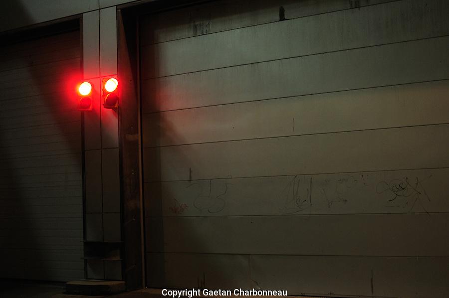 Red light near a garage door entrance