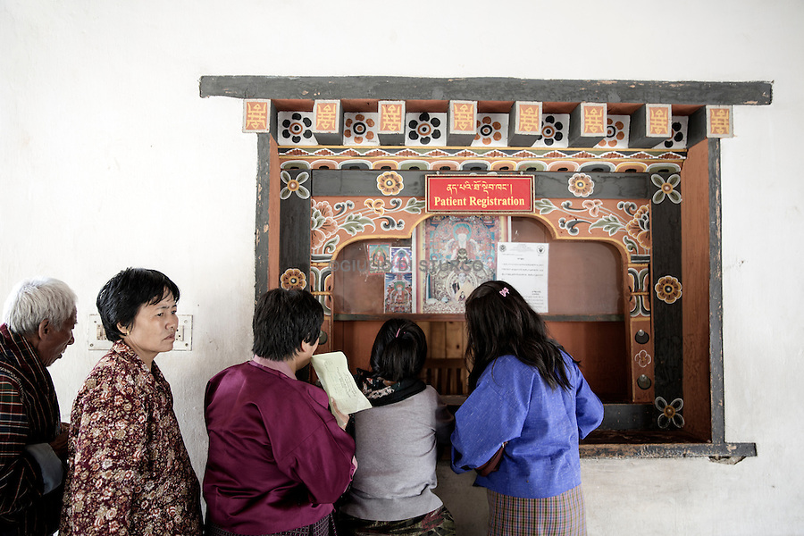 Patients waiting to be visited free of charge to the Hospital of Traditional Medicine of Thimpu