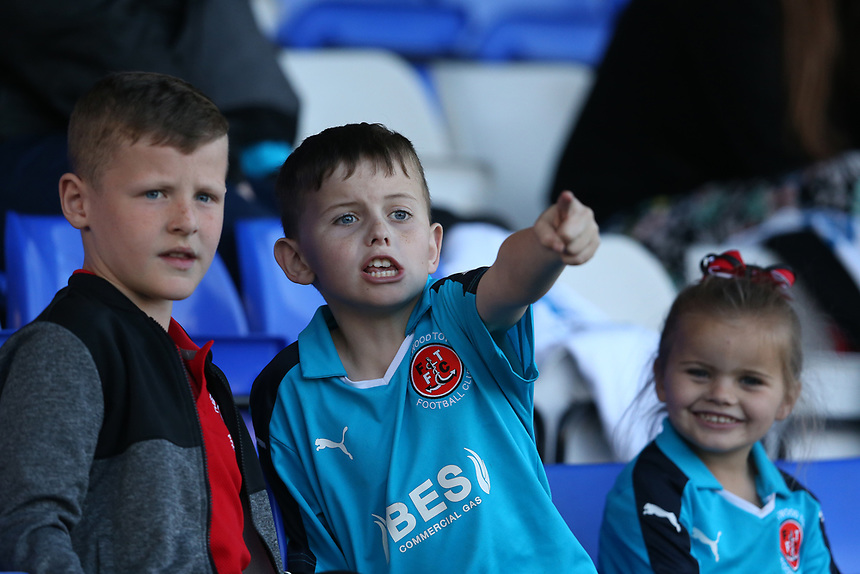 Young Fleetwood Town fans watch as their team lose 2-0<br /> <br /> Photographer Stephen White/CameraSport<br /> <br /> The EFL Sky Bet League One - Oldham Athletic v Fleetwood Town - Saturday 8th April 2017 - SportsDirect.com Park - Oldham<br /> <br /> World Copyright &copy; 2017 CameraSport. All rights reserved. 43 Linden Ave. Countesthorpe. Leicester. England. LE8 5PG - Tel: +44 (0) 116 277 4147 - admin@camerasport.com - www.camerasport.com