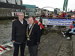 Paul Fleming CEO Drogheda Port Community and Mayor of Drogheda Paul Bell at the powerboats on the river Boyne. Photo:Colin Bell/pressphotos.ie