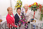 Winners at the Féile na mBláth Floral Arrangement competition on Sunday. From left: Kathleen Rediy (Castleisland), Margaret Groves (Ballymac), Phil Daly (Tralee).