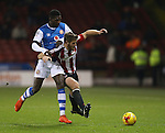 Jack O'Connell of Sheffield Utd tussles with Amadou Bakayoko of Walsall during the English League One match at Bramall Lane Stadium, Sheffield. Picture date: November 29th, 2016. Pic Simon Bellis/Sportimage