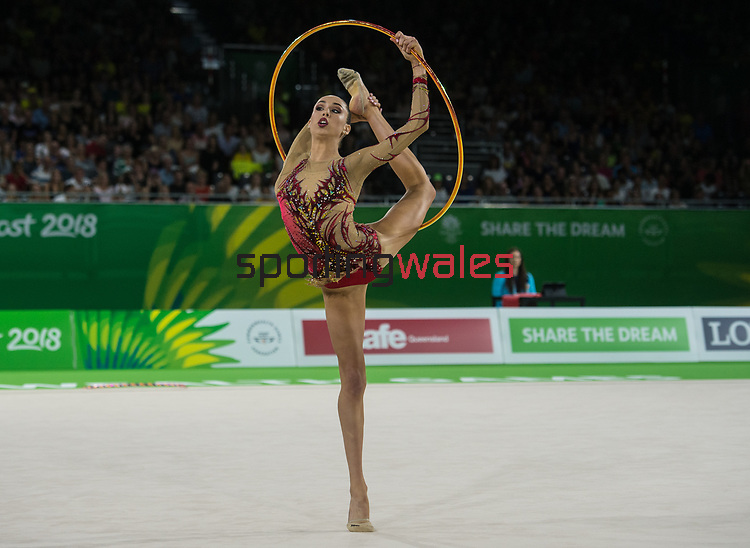 Wales Gemma Frizelle in action during todays event<br /> <br /> *This image must be credited to Ian Cook Sportingwales and can only be used in conjunction with this event only*<br /> <br /> 21st Commonwealth Games - Rhythmic Gymnastics - Team Final & Individual Qualification -  Day 7 - 11\04\2018 - Coomera Indoor Sports Centre - Gold Coast City - Australia