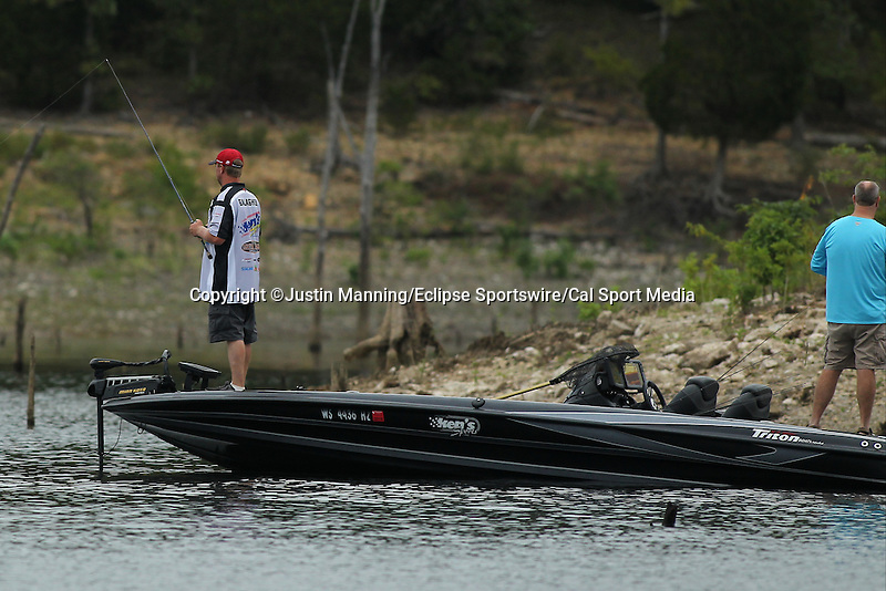 August 21, 2015: Casey Gallagher working a timber point on day two of the Forrest Wood Cup on Lake Ouachita in Hot Springs, AR. Justin Manning/ESW/CSM