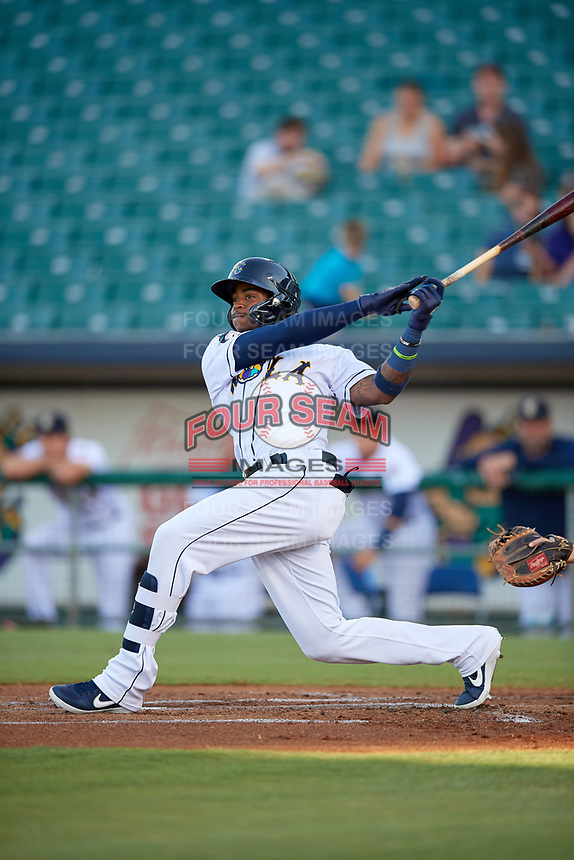 New Orleans Baby Cakes Monte Harrison (3) fouls a pitch off during a Pacific Coast League game against the Oklahoma City Dodgers on May 6, 2019 at Shrine on Airline in New Orleans, Louisiana.  New Orleans defeated Oklahoma City 4-0.  (Mike Janes/Four Seam Images)