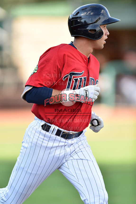 Elizabethton Twins right fielder Alex Kirilloff (30) runs to first base during a game against the Bristol Pirates at Joe O'Brien Field on July 30, 2016 in Elizabethton, Tennessee. The Twins defeated the Pirates 6-3. (Tony Farlow/Four Seam Images)