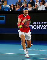 3rd January 2020; RAC Arena, Perth, Western Australia; ATP Cup Australia, Perth, Day 1, Russia versus Italy; Karen Khachanov of Russia plays a backhand shot against Stefano Travaglia of Italy - Editorial Use