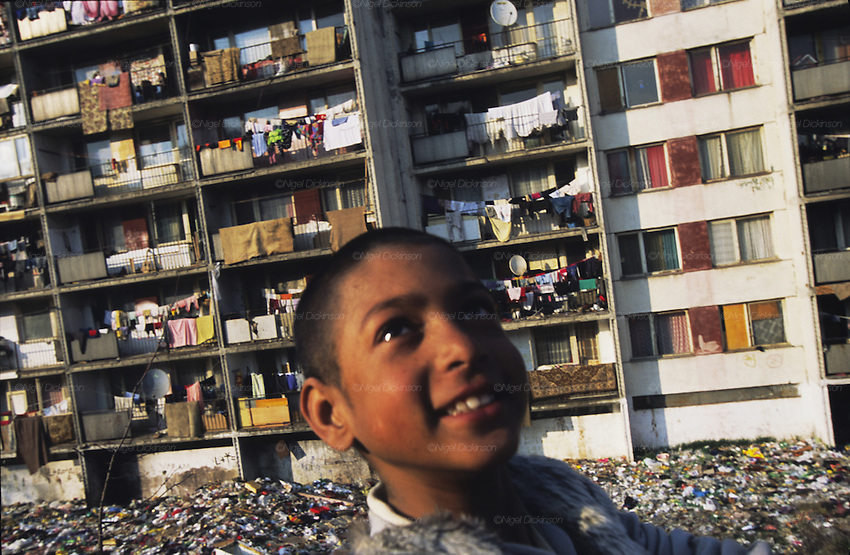 The infamous Lunik IX housing estate, which was once an army barracks, was 'given' to Roma after the fall of the iron curtain. It is now one of the poorest ghettos. The council does not collect rubbish, and it accuses the Roma of not  paying their taxes. Kosice, Slovakia 2004
