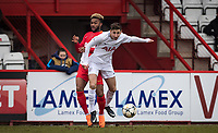 Jack Roles of Spurs U19 & Sylla Moussa of AS Monaco FC Youth during the UEFA Youth League round of 16 match between Tottenham Hotspur U19 and Monaco at Lamex Stadium, Stevenage, England on 21 February 2018. Photo by Andy Rowland.