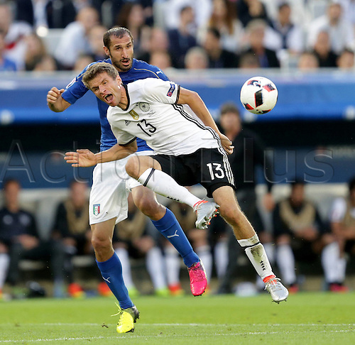 02.07.2016. Bordeaux, France. 2016 European football championships. Quarterfinals match. Germany versus Italy.  Thomas Muller (Ger), Giorgio Chiellini (ita)