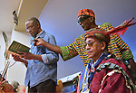"Dr. A.J. Williams-Myers, speaking on the subject of the Nat Turner Slave Rebellion, while Juma Sultan (right) holds the microphone and Dr. Airy Dixon sits in foreground, at the ""An Evening of Real History"" event, at the A.J. Williams-Myers African Roots Center, in Kingston, NY, on Saturday, July 29, 2017. Photo by Jim Peppler. Copyright/Jim Peppler-2017."