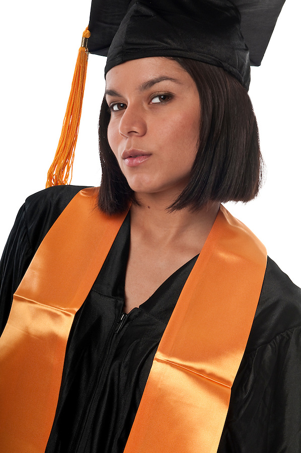 Portrait of young girl with gradution gown.