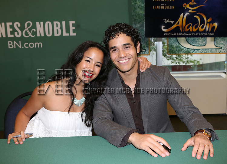 Courtney Reed and Adam Jacobs attend the 'Aladin' Broadway Cast CD Signing at Barnes & Noble Citigroup Center on June 20, 2014 in New York City.