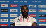 Botso Nkegbe (GHA team captain). Team Scotland press conference. Main press centre. Gold Coast 2018. Queensland. Australia. 04/04/2018. ~ MANDATORY CREDIT Garry Bowden/SIPPA - NO UNAUTHORISED USE - +44 7837 394578
