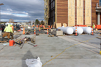 Boathouse at Canal Dock Phase II | State Project #92-570/92-674 Construction Progress Photo Documentation No. 17 on 1 December 2017. Image No. 06 Sidewalk and temporary heating propane tanks