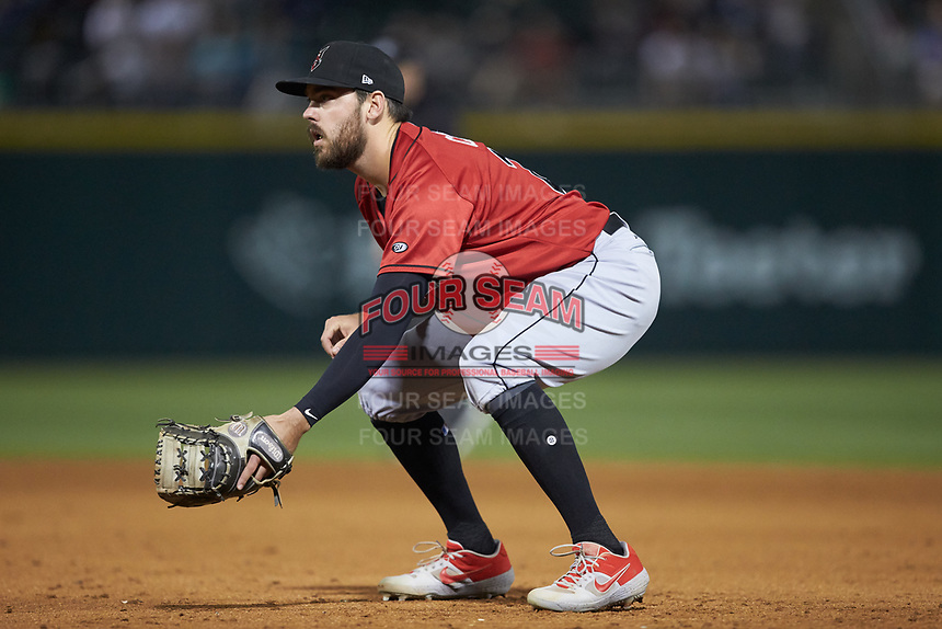 Indianapolis Indians first baseman Will Craig (25) on defense against the Charlotte Knights at BB&T BallPark on April 27, 2019 in Charlotte, North Carolina. The Indians defeated the Knights 8-4. (Brian Westerholt/Four Seam Images)