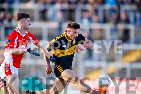 Micheál Burns Dr Crokes in action against P.J Mac Láimh West Kerry in the Kerry Senior Football Championship Semi Final at Fitzgerald Stadium on Saturday.