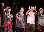 Karen Ziemba, Brandon Flynn, Jeffry Denman, Dee Roscioli during the opening night performance curtain call for the Vineyard Theatre's 'Kid Victory' at the Vineyard Theatre on February 22, 2017 in New York City.