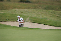 Paul McGinley plays his 3rd shot out of the bunker on the 18th hole and holes it for a birdie, during the 3rd round of the 2008 Open de France Alstom at Golf National, Paris, France June 28th 2008 (Photo by Eoin Clarke/GOLFFILE)