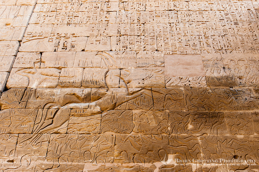 Medinet Habu, the Mortuary Temple of Ramesses III, on the West Bank of Luxor, Egypt.