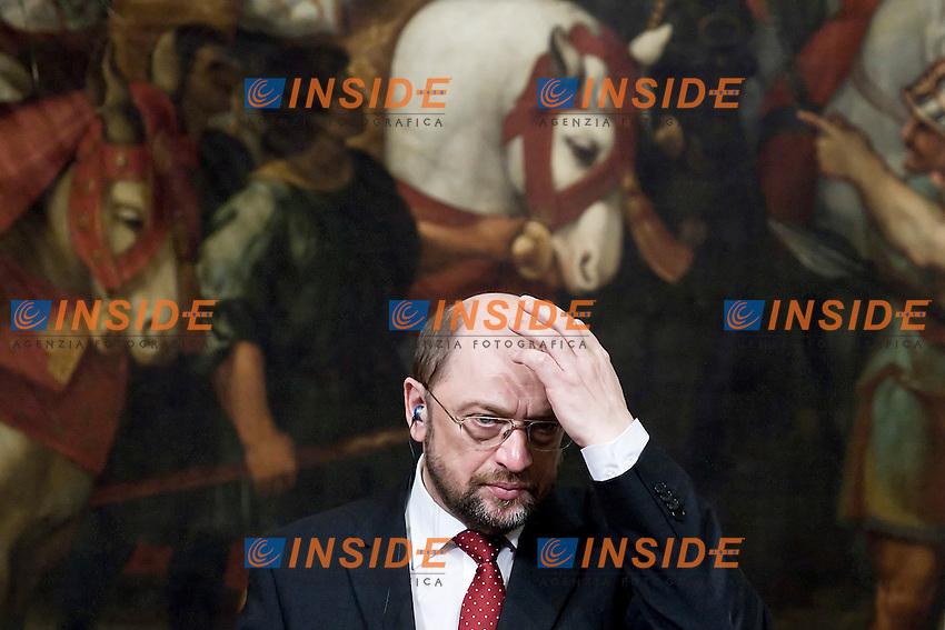 Il Presidente del Parlamento Europeo Martin Schulz.Roma 23/02/2012 Incontro tra il Presidente del Consiglio Italiano e il Presidente del Parlamento Europeo a Palazzo Chigi.Foto Insidefoto Serena Cremaschi