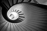 Black and white abstract of circular staircase