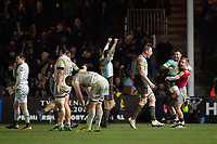 Harlequins players celebrate at the final whistle. Aviva Premiership match, between Harlequins and Saracens on December 3, 2017 at the Twickenham Stoop in London, England. Photo by: Patrick Khachfe / JMP