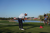 Renato Paratore (ITA) on the 18th tee during Round 3 of the Abu Dhabi HSBC Championship at the Abu Dhabi Golf Club, Abu Dhabi, United Arab Emirates. 18/01/2020<br /> Picture: Golffile | Thos Caffrey<br /> <br /> <br /> All photo usage must carry mandatory copyright credit (© Golffile | Thos Caffrey)