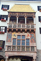 Innsbruck, Tyrol, Austria, June 2009.  oldenes Dachl is also a spectacular landmark in Innsbruck. Covered with 2657 fire-gilded copper tiles, the roof was constructed for the Holy Roman Emperor, Maximilian I so that he could watch and enjoy the events and tournaments happening in the square below. The City of Innsbruck boasts an old historical center and is set in the Inn valley surrounded by high mountains. Photo by Frits Meyst/Adventure4ever.com