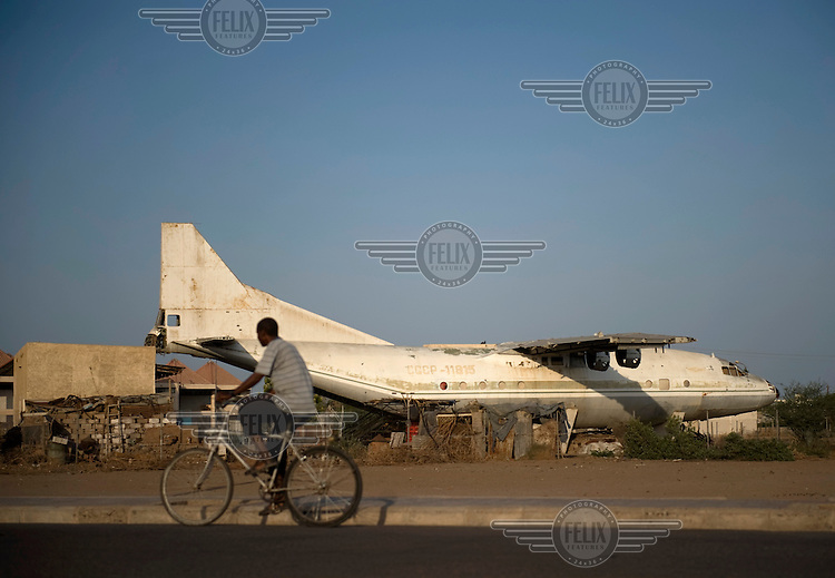 An old Soviet aeroplane stands in the harbour city of Massawa. The plane is now used as a house. .