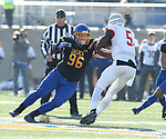 BROOKINGS, SD - NOVEMBER 11: Spencer Hildahl #96 from South Dakota State University looks to bring down Malachi Broadnax #5 from Illinois State during their game Saturday afternoon at Dana J. Dykhouse Stadium in Brookings. (Photo by Dave Eggen/Inertia)