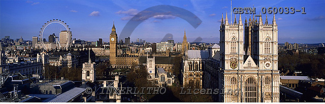 Tom Mackie, LANDSCAPES, panoramic, photos, Big Ben, Westminster Abbey & London Eye, London, England, GBTM060033-1,#L#