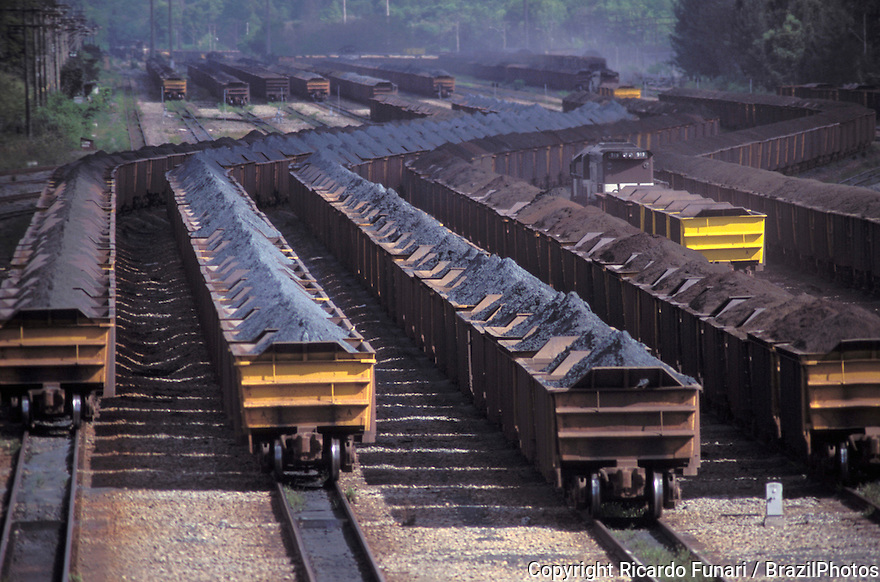Mining, transportation of iron ore for exportation in railway wagons at Tubarao Harbour in Vitoria city, Espirito Santo State, Brazil.