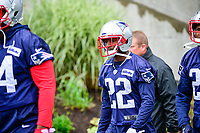 June 6, 2017: New England Patriots defensive back Justin Coleman (22) walks to practice in the rain at the New England Patriots mini camp held on the practice field at Gillette Stadium, in Foxborough, Massachusetts. Eric Canha/CSM