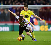 Blackburn Rovers' Richard Smallwood vies for possession with Sheffield United's John Fleck<br /> <br /> Photographer Chris Vaughan/CameraSport<br /> <br /> The EFL Sky Bet Championship - Sheffield United v Blackburn Rovers - Saturday 29th December 2018 - Bramall Lane - Sheffield<br /> <br /> World Copyright © 2018 CameraSport. All rights reserved. 43 Linden Ave. Countesthorpe. Leicester. England. LE8 5PG - Tel: +44 (0) 116 277 4147 - admin@camerasport.com - www.camerasport.com